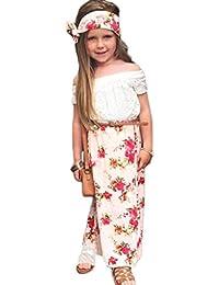 Koly Impresión floral niños niñas corto manga camiseta + correa + vestido + diadema conjunto