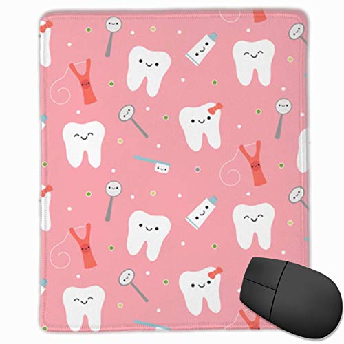Cute Dental Care Fabric Rectangle Non-Slip Rubber Mouse Pad with Stitched Edges