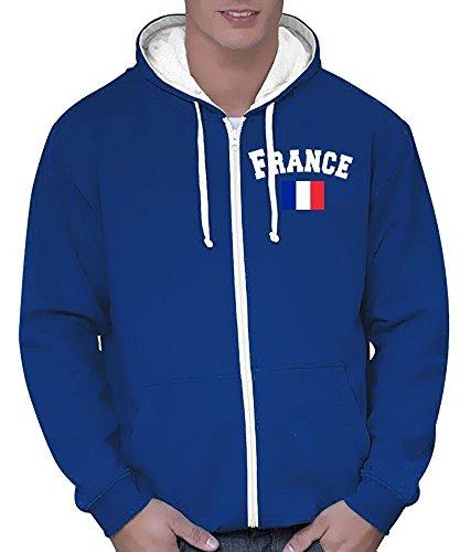 Coole-Fun-T-Shirts Frankreich Sweatshirtjacke Varsity Jacke Blau, Gr.S