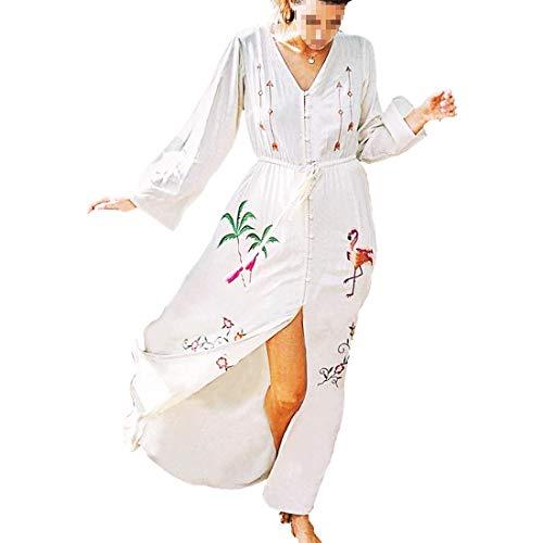 Wantbgd abito da spiaggia donna mare cotone elegante vestito lungo caftano tunica maniche lunghe