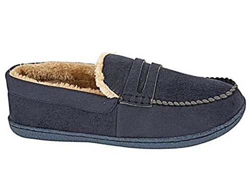 Mens New Hampshire Faux Suede Fur Lined Moccasin Slippers Shoes Size 7-12 (UK 10, Navy)