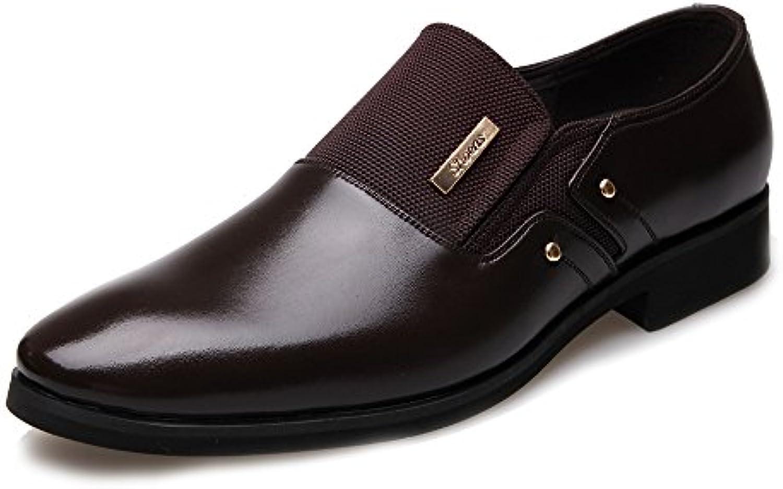 ZX Herren Business Schuhe Matte PU Leder  Canvas Splice Slip on Atmungsaktiv Ausgekleidet Oxfords (Schnürung