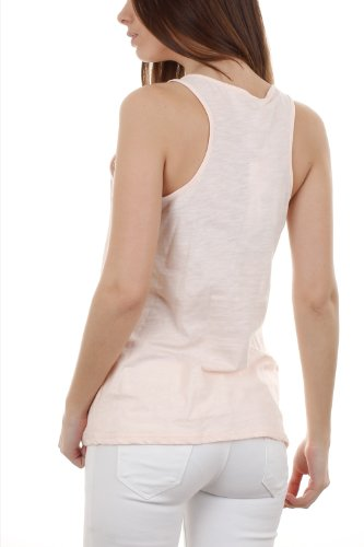 Netz-Tank Top Girly surperposé von kleinen Nieten Rosa - Rose pastel