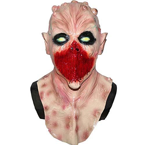MASCARELLO Deluxe Latex Deadly Silence Alien Zombie Halloween Kopf und Neck Kostüm (Deluxe Alien Kostüm)
