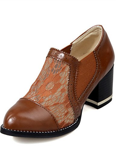 GS~LY Da donna-Tacchi-Formale / Casual / Serata e festa-Tacchi-Quadrato-Materiali personalizzati-Nero / Marrone / Beige brown-us6 / eu36 / uk4 / cn36