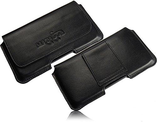 Matador Echt Leder Tasche Case Hülle Handytasche Gürteltasche Quertasche für BQ Aquaris X5 Cyanogen Edition mit verdecktem Magnetverschluß und Gürtelschlaufe in (Schwarz/Black)
