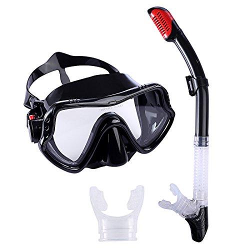 BANDRA Schnorchelset Schnorchelmaske Anti-Fog Taucherbrille mit Schnorchel Tauchset Tauchmaske für Erwachsene und Kinder Schwarz