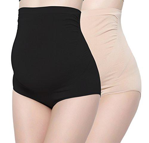 KUCI Damen Schwangerschafts-Unterwäsche, Ultra High Waist Superelastic Frauen Schwangere Panties Briefs (L, Black+Nude/2Pack) - Brief 2-pack-unterwäsche