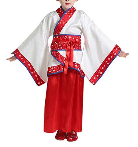 zhxinashu Mädchen Traditionelle Chinesische Hanfu Dress Boys Han Dynastie Kleidung Schöne Halloween Kostüme Party Fancy Kleid (3XL Rot) (Chinesisches Mädchen Halloween Kostüme)
