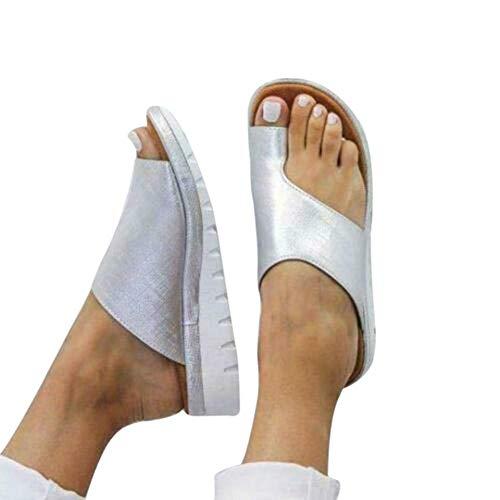 Zapatos de Plataforma cómodos,Mujer Zapatos Sandalias planaspara los juanetes,Sandalias de Mujer de Cuero de PU para Zapatos de Viaje de Playa de Verano Size 40 EU (Plata)
