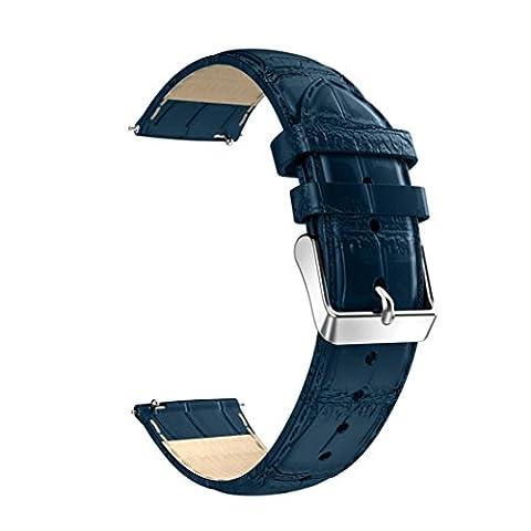 Bracelet de montre 18mm, Happytop Bande de cuir Sangle de poignet de rechange pour Huawei Asus ZenWatch 2 S bleu
