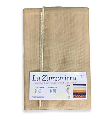 tex family Tenda Rete ZANZARIERA Marquisette da Esterno PIOMBATA in 4 Misure Diverse Unito Beige - Cm. 200 x 250