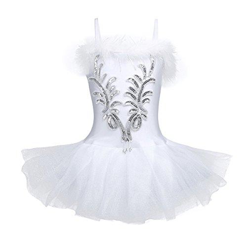 YiZYiF Mädchen Ballettanzug Ballettkleid Ballett Trikot Turnanzug Mädchen Kleider Kinder Ballettbekleidung im set Gr. 104 110 116 122 128 140 152 Weiß 122-128