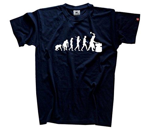 Schmied Hammer Amboss Schmiede Eisen Stahl Evolution T-Shirt Navy XXL