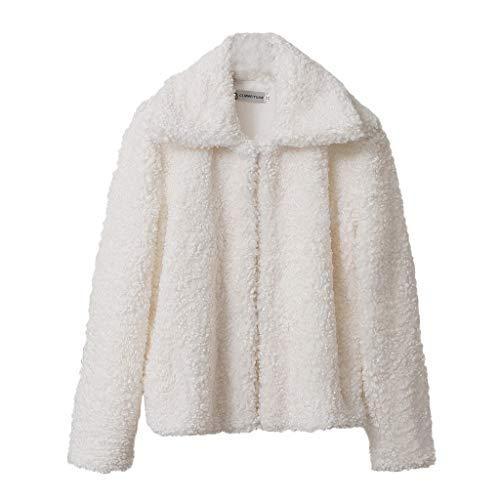 CixNy Mantel Damen Plus Samt Einfarbig O-Ausschnitt Dicke Jacke Strickjacke Herbst Winter Lamm Frottee Ring Mantel Kurz Weiblich Winterjacke (Weiß-A, XL) -