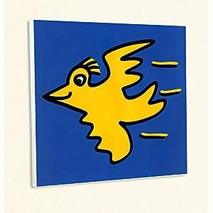 Kunstdruck Flying Bird Fliegender Vogel Gelb Blau Popart Poster Rizzi Platte 37