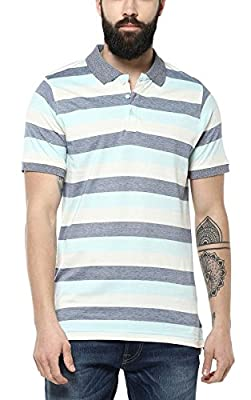 American Crew Men's Polo Stripes T-Shirt (Off White, Blue & Sky Blue)