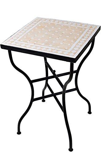 ORIGINAL Marokkanischer Mosaiktisch Bistrotisch 50x50cm Groß eckig klappbar   Eckiger Kleiner Mosaik Gartentisch Mediterran   als Klapptisch für Balkon oder Garten   Marrakesch Natur Weiß 50x50cm