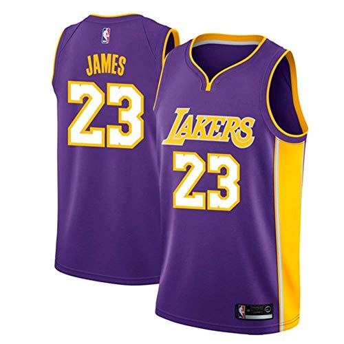 Jordan Nike Anzug (AKCHIUY Herren-Basketballtrikot, Lebron James # 23 NBA Los Angeles Lakers, Neues Atmungsaktives ärmelloses Swingman-Trikot,Purple(A)-M)