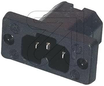 schwarz 250 V Meister Hei/ßger/äte-Stecker 10 A Temperaturfest bis 155/°C Mit Knickschutzt/ülle // Unikontakt-Ger/ätesteckdose // 7421990