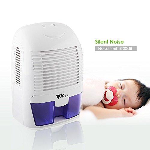 Amzdeal Dehumidifier 1500ml Compact Portable Mini Dehumidifier For Damp Bathroom Bedroom Kitchen