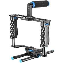 """Neewer Pro (Version Pro de Neewer Produit) Caméra Vidéo Cage en Aluminium Kit avec (1)Vidéo Cage (1)Poignée en Haut (2)15mm Barres pour Canon 5D Mark II / 5D Mark III / 700D 650D 600D 550D 500D 450D; Nikon D7000 D5200 D5100 D5000 D3300 D3200 D3100 D3000; Pentax K7 K5 K3; Sony A850 A700 A550 A450 A77; Olympus E-P3 E-P5 E-PL3 et Autres Appareils Photos Reflex Professionals avec Sabot Universel avec 1/4"""" Filetage"""