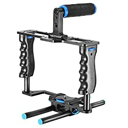 Neewer® Aluminum Alloy Camera Video Cage Film Movie Making Kit include:(1)Video Cage(1)Top Handle Grip(2)15mm Rod for DSLR Cameras Such as Canon 5D mark II III 700D 650D Nikon D7200 Pentax Sony Olympus