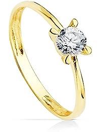 6dcce68f34b7 Solitario de Compromiso Mujer Oro Amarillo 18 kilates Anillo Joya Vicenza