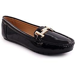 Unze Neue Frauen 'Alina' Metall Detail Büro Arbeit Schule Casual Moccasin Pumps flache Schuhe UK Größe 3-8 - 6Z666-888