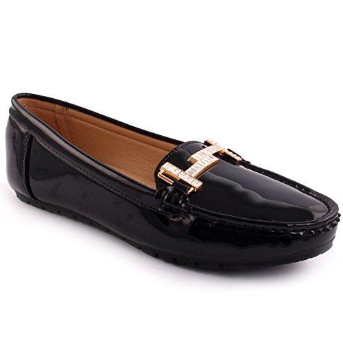 Unze Nuove donne 'Alina' dettaglio in metallo Scuola Lavoro d'ufficio casual mocassino pompe scarpe piane UK Size 3-8 Nero