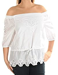 e90ba810b02b2 Ralph Lauren Womens White Short Sleeve Off Shoulder Top Petites Size  L