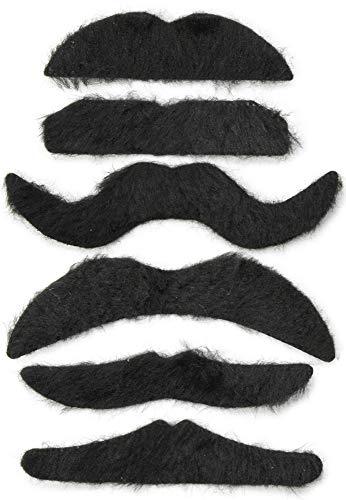 Und Mit Schnurrbärten Kostüm - com-four® 6-teiliges Schnurrbart Set aus falschen Schnurrbärten, feine Fasern, selbstklebend (06 Stück - Mix)
