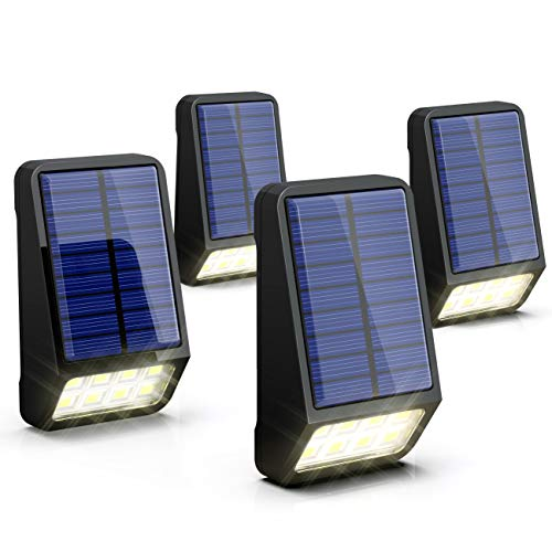 Solarleuchte Garten, LOHAS Solar Zaunbeleuchtung, Außenbeleuchtung, 8 LEDs, 5V, 150LM und 0,8W, 6000K Kaltweiß, Außenlicht, Wasserdichte IP65, für Garten/Treppen, Wandleuchte Aussen, 4er Pack
