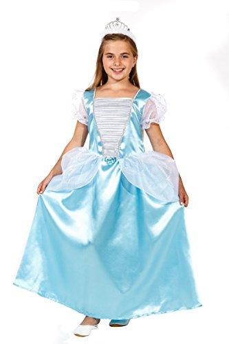 Magicoo Deluxe Prinzessin Kostüm Kinder blau mit Krone - Prinzessinnenkleid Mädchen - Prinzessin Kostüm Mädchen (116)