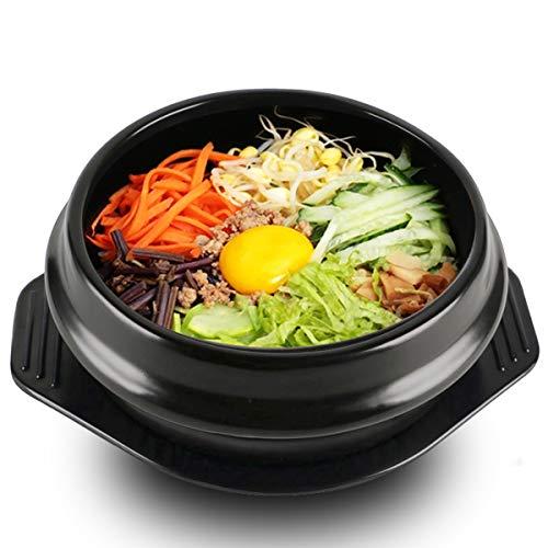 Bureze Koreanischer Dolsot Schüssel, große Größe, Steingut-Topf, Bibimbap Kochen + Untersetzer - Koreanisch Kochen-stein