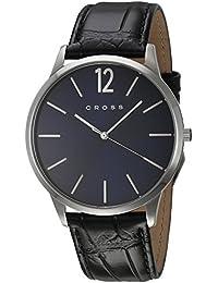 Cross CR8003-02 - Reloj analógico para hombre, correa de cuero color negro
