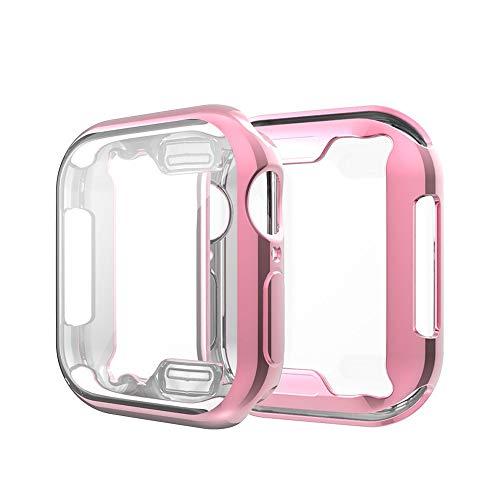 Vamoro TPU Plated Displayschutzfolie Vollschutz Display Schutzhülle Full Coverage Scratch-Proof Schutzhülle Weiche Ultra-Slim-Beschichtung TPU-Schutzhülle für Apple Watch Series 4 40MM(Rosa)