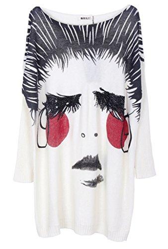 Bigood Pull Grande Taille Femme Tricoté Tops à Manche Longue Sweat-shirt Col Rond Imprimé Blanc #J