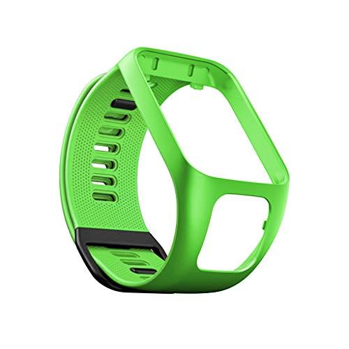 QHJ Armband Für Tomtom Adventurer/Runner 2 3 / Spark 3,Ersatz Silikon Band Strap für Tomtom Adventurer/Runner 2 3/Spark 3 (Grün)