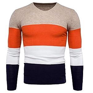 VRTUR Herren Pullover Langarm Patchwork Strickpullover Gestrickt Sweatshirt Top Tee Outwear Bluse