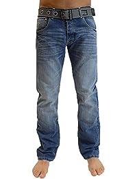 Crosshatch Mens Nouvelles Techno Straignt Leg Jeans Mi Oeil Utilisé