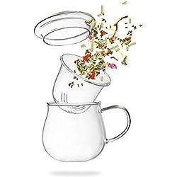 Teeglas mit Sieb - Teetasse mit Glasfilter - 360ml Borosilikat Glass mit Filter- von Tea 108