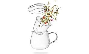 Teeglas mit Sieb - Teetasse mit Glasfilter - 360ml Borosilikat Glass mit Filter und Deckel - von Tea 108