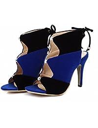 Verano de zapatos de mujer, botas altas, botas de damas, zapatos de mujer, encajes, tacones altos UPS,blue,41
