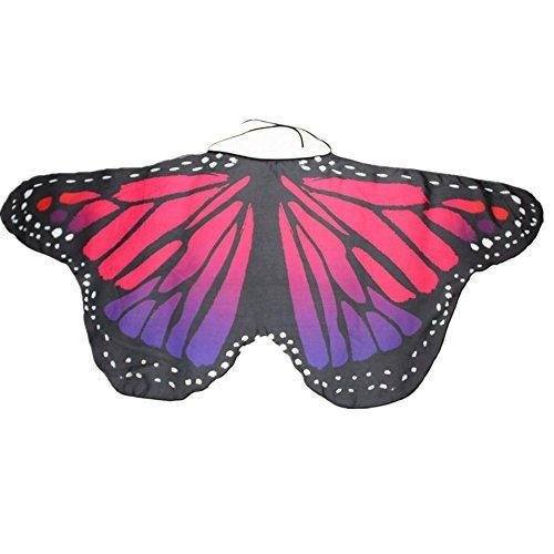 Overdose Damen Faschingskostüme Kinder Mädchen Jungen Butterfly Wing Cape Schmetterling Flügel Kostüm Schmetterlingsflügel Erwachsene Karneval Kostüm Kimono Schal Cape Tuch (147*68CM, B-Hot Pink)