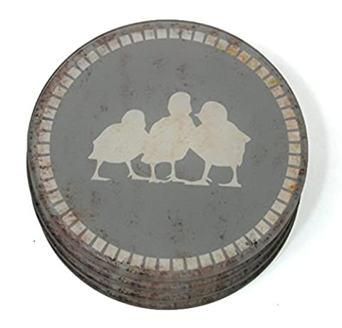 Drinks Coasters - Glass Duckling Coasters Grey - Set of 4 (142-603)