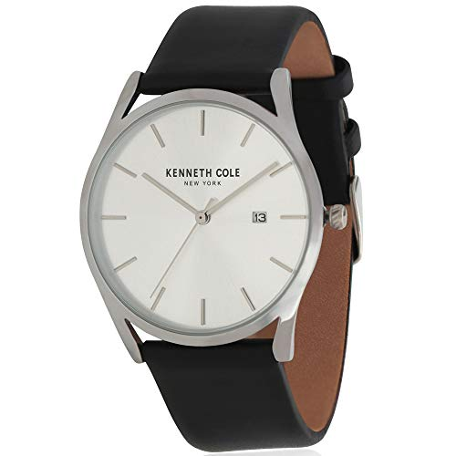 Kenneth Cole Men's 40mm Black Leather Band Steel Case Quartz Watch KC50337005
