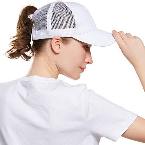 WELROG Dame Baseball Kappe Hip-Hop-Hut Verstellbar Baumwolle Pferdeschwanz Cap (Weiß #1) Weiße Tennis Caps