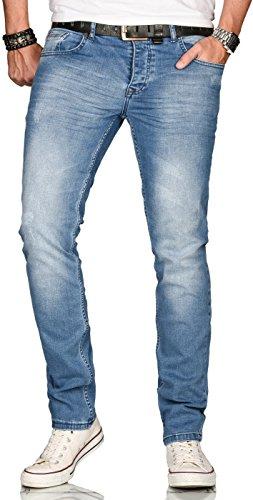 A. Salvarini Designer Herren Jeans Hose Regular Slim Fit Style Jeanshose Stretch[AS-080 - W29 L30]
