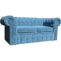 Casa-Padrino sofá 2 plazas de Cuero Genuino Naranja 180 x 100 x H. 78 cm - Sofá Cama Chesterfield